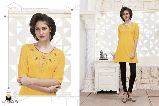 Kurtis & Kurtas Pretty Georgette Women's Short Kurti  *Fabric* Outer - Georgette, Inner - Santoon  *Sleeves* Sleeves Are Included  *Size* XL- 42 in  *Length* Up To 28 in  *Type* Stitched  *Description* It Has 1 Piece Of Women's Short Kurti  *Work* Embroidered  *Sizes Available* XL   Catalog Rating: ★4 (4) Supplier Rating: ★4 (56) SKU: 9905 Free shipping is available for this item. Pkt. Weight Range: 300  Catalog Name: Diva Pretty Georgette Women's Short Kurtis Vol 1 - Anuradha B Code: 967-1316378--