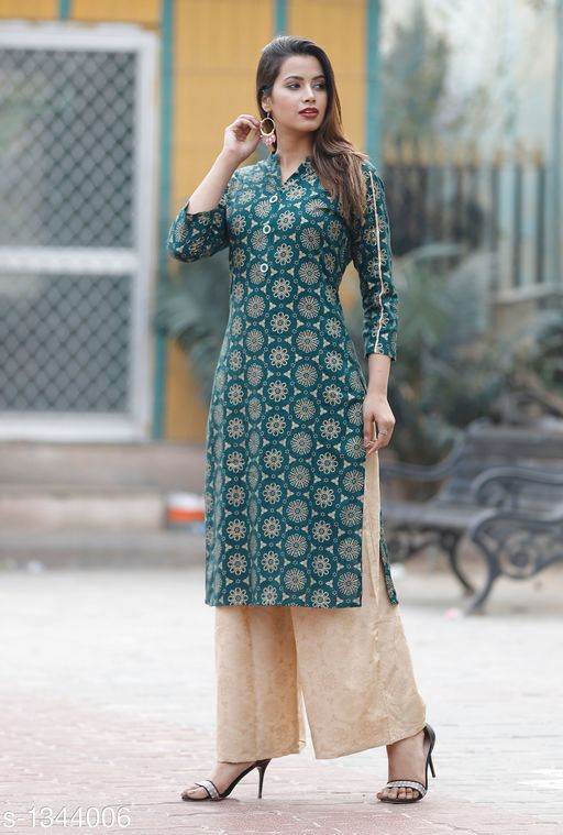 Kurta Sets Contemporary Women's Kurti & Kurta Set  *Fabric* Rayon  *Sleeves* Sleeves Are Included  *Size* Kurti - M - 38 in, L - 40 in, XL - 42 in, XXL - 44 in ,  3XL - 46 in ,Palazzo - M - 30 in, L - 32 in, XL - 34 in, XXL - 36 in ,3XL - 38 in  *Length* Kurti - Up To 48 in, Palazzo - Up To 40 in  *Type* Stitched  *Description* It Has 1 Piece Of Women's Kurti & 1 Piece Of Palazzo  *Work* Kurti - Printed, Palazzo - Solid  *Sizes Available* XL, XXL, XXXL   Supplier Rating: ★4.2 (260) SKU: New Green Gold Kurta Palazzo Set-M Free shipping is available for this item. Pkt. Weight Range: 300  Catalog Name: Kashvi Contemporary Women's Kurti & Kurta Sets Vol 3 - NIK Fashion Code: 967-1344006--