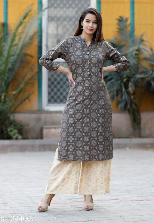 Kurta Sets Contemporary Women's Kurti & Kurta Set  *Fabric* Rayon  *Sleeves* Sleeves Are Included  *Size* Kurti - M - 38 in, L - 40 in, XL - 42 in, XXL - 44 in ,  3XL - 46 in ,Palazzo - M - 30 in, L - 32 in, XL - 34 in, XXL - 36 in ,3XL - 38 in  *Length* Kurti - Up To 48 in, Palazzo - Up To 40 in  *Type* Stitched  *Description* It Has 1 Piece Of Women's Kurti & 1 Piece Of Palazzo  *Work* Kurti - Printed, Palazzo - Solid  *Sizes Available* XXXL   Supplier Rating: ★4.2 (260) SKU: New Grey Gold Kurta Palazzo Set-M Free shipping is available for this item. Pkt. Weight Range: 300  Catalog Name: Kashvi Contemporary Women's Kurti & Kurta Sets Vol 3 - NIK Fashion Code: 967-1344007--