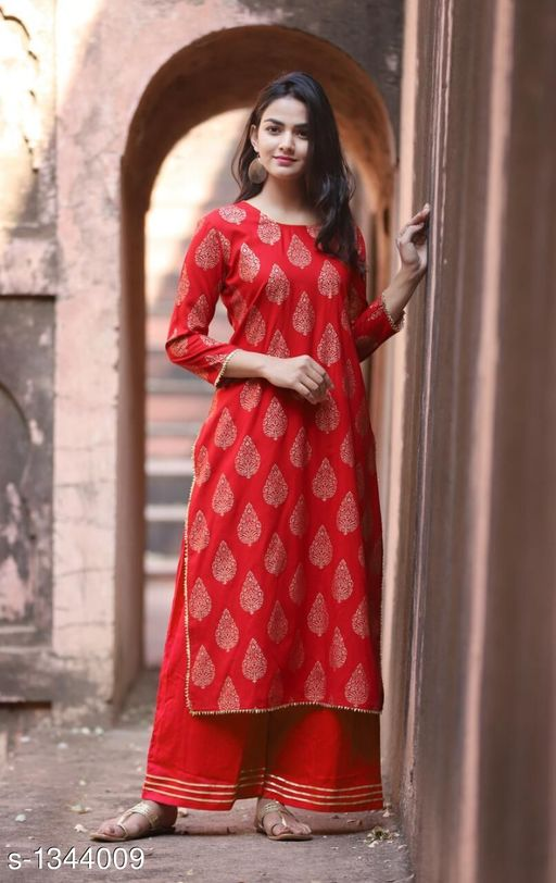 Kurta Sets Contemporary Women's Kurti & Kurta Set  *Fabric* Rayon  *Sleeves* Sleeves Are Included  *Size* Kurti -  L - 40 in, XL - 42 in, XXL - 44 in ,  3XL - 46 in ,Palazzo -L - 32 in, XL - 34 in, XXL - 36 in ,3XL - 38 in  *Length* Kurti - Up To 48 in, Palazzo - Up To 40 in  *Type* Stitched  *Description* It Has 1 Piece Of Women's Kurti & 1 Piece Of Palazzo  *Work* Kurti - Printed, Palazzo - Solid  *Sizes Available* XL, XXL, XXXL   Supplier Rating: ★4.2 (260) SKU: Red Gold Gotta Kurta Palazzo Set-L Free shipping is available for this item. Pkt. Weight Range: 300  Catalog Name: Kashvi Contemporary Women's Kurti & Kurta Sets Vol 3 - NIK Fashion Code: 097-1344009--
