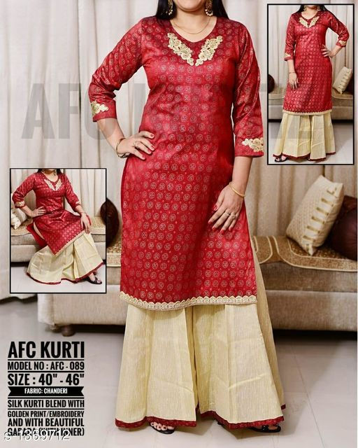 Kurtis & Kurtas Funky Women's Kurti  *Fabric* Kurti  *Sleeves* 3/4 Sleeves Are Included  *Size* Size  *Length* Kurti  *Type* Stitched  *Description* It Has 1 Piece Of Kurti With 1 Piece Of Palazzo  *Work* Kurti  *Sizes Available* L, XL, XXL, XXXL   SKU: Afc089 Free shipping is available for this item. Pkt. Weight Range: 500  Catalog Name: Arianna Funky Women's Kurtis Vol 6 - AFC Kurti Code: 0761-1369712--