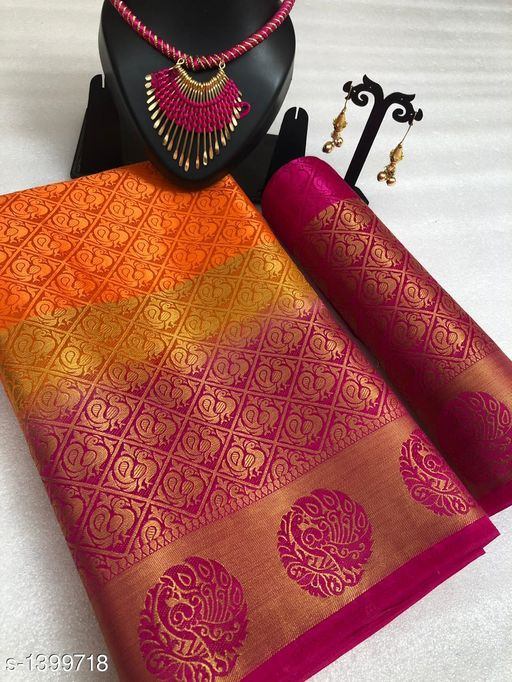 Sarees Exceptional Tussar Silk Saree  *Fabric* Saree - Tussar Silk, Blouse - Tussar Silk, Necklace - Alloy, Earring - Alloy  *Size* Saree Length - 5.5 Mtr, Blouse Length - 0.80 Mtr, Necklaces Set - Free Size  *Work* Saree & Blouse -  Weaving Work, Necklaces - Thread Work, Earrings - Beads Work  *Description* It Has 1 Piece Of Saree With Blouse, 1 Piece Of Necklace & 1 Pair Of Earring  *Sizes Available* Free Size   Supplier Rating: ★4 (40958) SKU: BELATON_PEACOCK_ORANGE Free shipping is available for this item. Pkt. Weight Range: 500  Catalog Name: Aashiyana Exceptional Tussar Silk Sarees - P Variety Code: 9621-1399718--