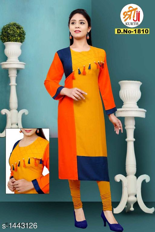 Kurtis & Kurtas Stunning Rayon Khadi Patch Work Kurti  *Fabric* Rayon Khadi 14kg  *Sleeves* Sleeves Are Included  *Size* L - 40 in, XL - 42 in, XXL - 44 in  *Length* Up To 45 in  *Type* Stitched  *Description* It Has 1 Piece Of Women's Kurtis  *Work* Patch Work  *Sizes Available* L, XL, XXL   Supplier Rating: ★4.1 (893) SKU: D.No-1810 Free shipping is available for this item. Pkt. Weight Range: 300  Catalog Name: Hrishita Stunning Rayon Khadi Patch Work Kurtis - SJ Kurtis Code: 025-1443126--