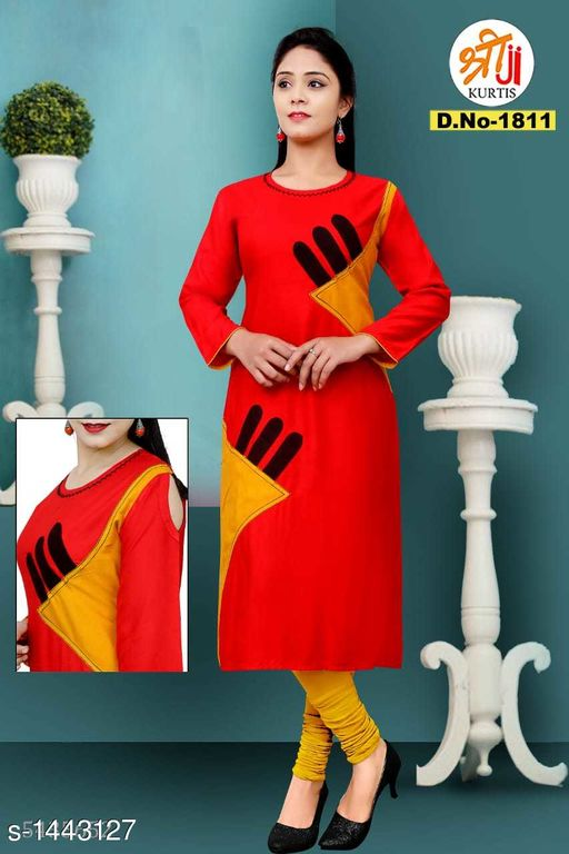 Kurtis & Kurtas Stunning Rayon Khadi Patch Work Kurti  *Fabric* Rayon Khadi 14kg  *Sleeves* Sleeves Are Included  *Size* L - 40 in, XL - 42 in, XXL - 44 in  *Length* Up To 45 in  *Type* Stitched  *Description* It Has 1 Piece Of Women's Kurtis  *Work* Patch Work  *Sizes Available* L, XL, XXL   Supplier Rating: ★4.1 (893) SKU: D.No-1811 Free shipping is available for this item. Pkt. Weight Range: 300  Catalog Name: Hrishita Stunning Rayon Khadi Patch Work Kurtis - SJ Kurtis Code: 025-1443127--