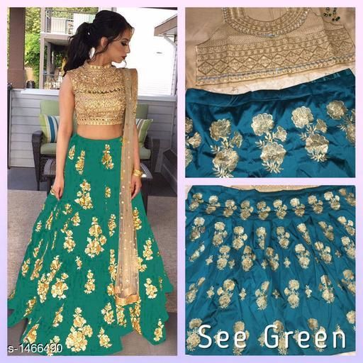 Lehengas  Ravishing Tapeta Silk  Attractive Party Wear Lehenga  *Fabric* Lehenga- Tapeta Silk,  Blouse -  Banglori Silk , Dupatta - Net  *Size* Lehenga- Up To 28 in To 40 in, Blouse - 0.8 Mtr , Dupatta - 2.10 Mtr  *Length* Lehenga - Up To 42 in  *Type* Semi-Stitched  *Description* It Has 1 Piece Of Women's Lehenga , 1 Piece Of  Blouse, 1 Piece Of Inner & 1 Piece Of Dupatta  *Work* Embroidery & Mirror Work  *Sizes Available* Semi Stitched   Catalog Rating: ★4.3 (185) Supplier Rating: ★4 (48888) SKU: ZL_SEA_GREEN Free shipping is available for this item. Pkt. Weight Range: 500  Catalog Name: Hrishita Ravishing Tapeta Silk  Attractive Party Wear Lehenga Vol 4 - P Variety Code: 418-1466490--