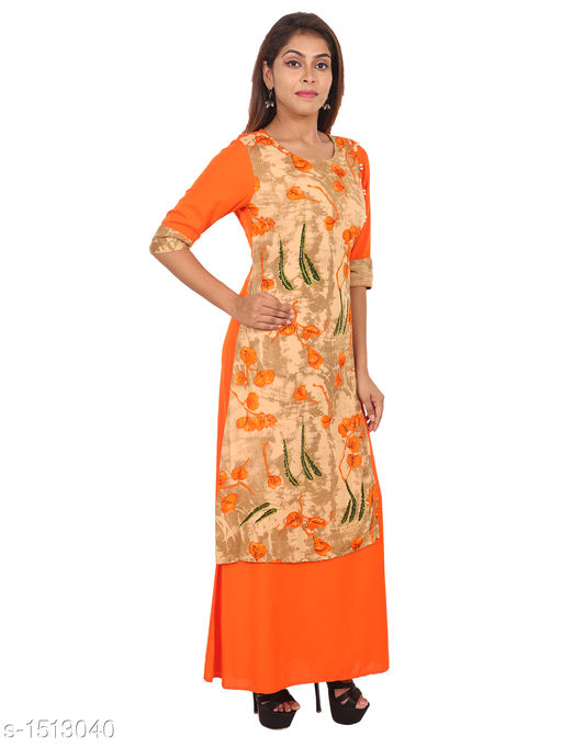 Kurtis & Kurtas Gorgeous Rayon Printed Long Gown Kurti   *Fabric* Rayon  *Sleeves* 3/4 Sleeves Are Included  *Size* M - 38 in, L - 40 in, XL - 42 in, XXL - 44 in  *Length* Up To 48 in  *Type* Stitched  *Description* t Has 1 Piece Of Women's Long Gown Kurti  *Work* Printed  *Sizes Available* M, L, XL, XXL   SKU: 02_02 Free shipping is available for this item. Pkt. Weight Range: 300  Catalog Name: Aaryahi Gorgeous Rayon Printed Long Gown Kurtis Vol 1 - SNS Kurtis Code: 955-1513040--
