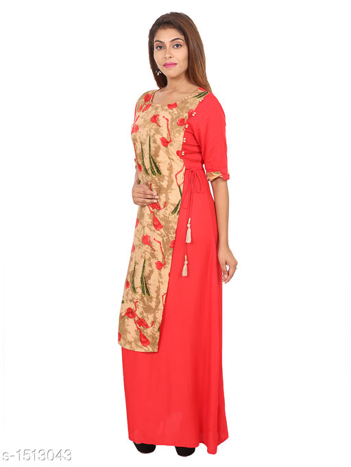 Kurtis & Kurtas Gorgeous Rayon Printed Long Gown Kurti   *Fabric* Rayon  *Sleeves* 3/4 Sleeves Are Included  *Size* M - 38 in, L - 40 in, XL - 42 in, XXL - 44 in  *Length* Up To 48 in  *Type* Stitched  *Description* t Has 1 Piece Of Women's Long Gown Kurti  *Work* Printed  *Sizes Available* M, L, XL, XXL   SKU: 03_03 Free shipping is available for this item. Pkt. Weight Range: 300  Catalog Name: Aaryahi Gorgeous Rayon Printed Long Gown Kurtis Vol 1 - SNS Kurtis Code: 955-1513043--