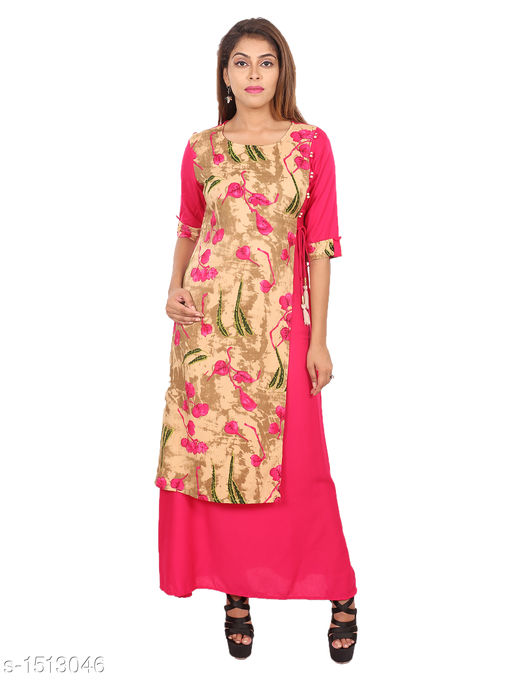 Kurtis & Kurtas Gorgeous Rayon Printed Long Gown Kurti   *Fabric* Rayon  *Sleeves* 3/4 Sleeves Are Included  *Size* M - 38 in, L - 40 in, XL - 42 in, XXL - 44 in  *Length* Up To 48 in  *Type* Stitched  *Description* t Has 1 Piece Of Women's Long Gown Kurti  *Work* Printed  *Sizes Available* M, L, XL, XXL   SKU: 04_04 Free shipping is available for this item. Pkt. Weight Range: 300  Catalog Name: Aaryahi Gorgeous Rayon Printed Long Gown Kurtis Vol 1 - SNS Kurtis Code: 955-1513046--