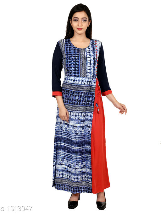 Kurtis & Kurtas Gorgeous Rayon Printed Long Gown Kurti   *Fabric* Rayon  *Sleeves* 3/4 Sleeves Are Included  *Size* M - 38 in, L - 40 in, XL - 42 in, XXL - 44 in  *Length* Up To 48 in  *Type* Stitched  *Description* t Has 1 Piece Of Women's Long Gown Kurti  *Work* Printed  *Sizes Available* M, L, XL, XXL   SKU: 05_05 Free shipping is available for this item. Pkt. Weight Range: 300  Catalog Name: Aaryahi Gorgeous Rayon Printed Long Gown Kurtis Vol 1 - SNS Kurtis Code: 955-1513047--