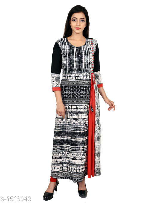 Kurtis & Kurtas Gorgeous Rayon Printed Long Gown Kurti   *Fabric* Rayon  *Sleeves* 3/4 Sleeves Are Included  *Size* M - 38 in, L - 40 in, XL - 42 in, XXL - 44 in  *Length* Up To 48 in  *Type* Stitched  *Description* t Has 1 Piece Of Women's Long Gown Kurti  *Work* Printed  *Sizes Available* M, L, XL, XXL   SKU: 06_06 Free shipping is available for this item. Pkt. Weight Range: 300  Catalog Name: Aaryahi Gorgeous Rayon Printed Long Gown Kurtis Vol 1 - SNS Kurtis Code: 955-1513049--