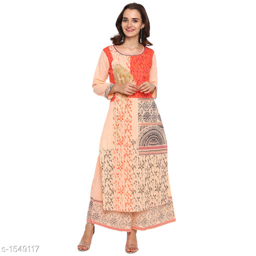 Kurta Sets Pretty Printed Women's Kurta Set  *Catalog Name* *Myhra Pretty Printed Women's Kurta Sets Vol 3*  *Fabric* Kurti - Cotton, Palazzo - Cotton  *Sleeves* Kurti - 3/4 Sleeves Are Included  *Size* Kurti  *Length* Kurti - Up to 46 in, Palazzo - Up to 36 in  *Type* Stitched  *Description* It Has 1 Piece Of Women's Kurti & 1 Piece Of Palazzo  *Work* Kurti - Printed, Palazzo - Printed  *Sizes Available* S, M, L, XL, XXL, XXXL, 4XL, 5XL   Supplier Rating: ★4.3 (38) SKU: SBKPI23012 Free shipping is available for this item. Pkt. Weight Range: 400  Catalog Name: Myhra Pretty Printed Women's Kurta Sets Vol 3 - Sandeep Tiwari Code: 999-1549117--