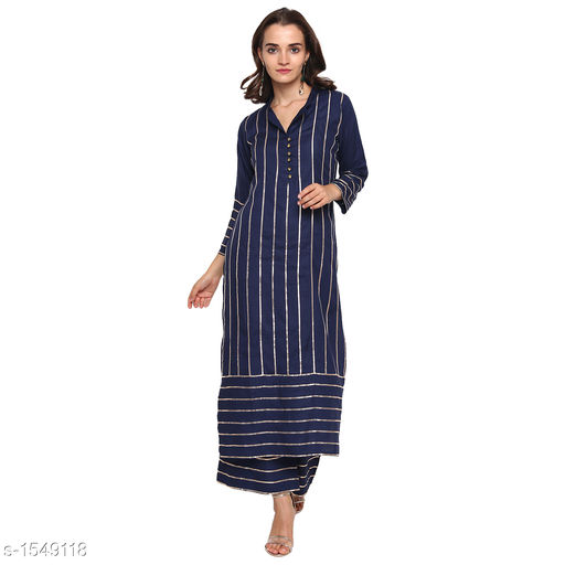 Kurta Sets Pretty Printed Women's Kurta Set  *Catalog Name* *Myhra Pretty Printed Women's Kurta Sets Vol 3*  *Fabric* Kurti - Rayon, Palazzo - Rayon  *Sleeves* Kurti - 3/4 Sleeves Are Included  *Size* Kurti  *Length* Kurti - Up to 46 in, Palazzo - Up to 36 in  *Type* Stitched  *Description* It Has 1 Piece Of Women's Kurti & 1 Piece Of Palazzo  *Pattern* Kurti - Striped, Palazzo - Striped  *Sizes Available* S, M, L, XL, XXL, XXXL, 4XL, 5XL   Supplier Rating: ★4.4 (25) SKU: SBKPI23013 Free shipping is available for this item. Pkt. Weight Range: 400  Catalog Name: Myhra Pretty Printed Women's Kurta Sets Vol 3 - Sandeep Tiwari Code: 9601-1549118--