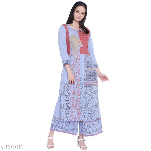 Kurta Sets Pretty Printed Women's Kurta Set  *Catalog Name* *Myhra Pretty Printed Women's Kurta Sets Vol 3*  *Fabric* Kurti - Cotton, Palazzo - Cotton  *Sleeves* Kurti - 3/4 Sleeves Are Included  *Size* Kurti  *Length* Kurti - Up to 46 in, Palazzo - Up to 36 in  *Type* Stitched  *Description* It Has 1 Piece Of Women's Kurti & 1 Piece Of Palazzo  *Work* Kurti - Printed, Palazzo - Printed  *Sizes Available* S, M, L, XL, XXL, XXXL, 4XL, 5XL   Supplier Rating: ★4.4 (25) SKU: SBKPI23016 Free shipping is available for this item. Pkt. Weight Range: 400  Catalog Name: Myhra Pretty Printed Women's Kurta Sets Vol 3 - Sandeep Tiwari Code: 999-1549119--