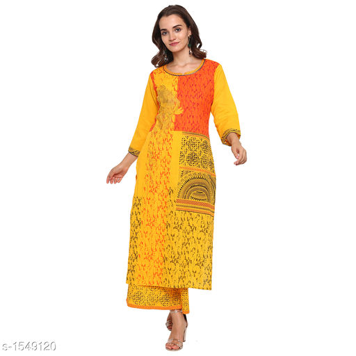 Kurta Sets Pretty Printed Women's Kurta Set  *Catalog Name* *Myhra Pretty Printed Women's Kurta Sets Vol 3*  *Fabric* Kurti - Cotton, Palazzo - Cotton  *Sleeves* Kurti - 3/4 Sleeves Are Included  *Size* Kurti  *Length* Kurti - Up to 46 in, Palazzo - Up to 36 in  *Type* Stitched  *Description* It Has 1 Piece Of Women's Kurti & 1 Piece Of Palazzo  *Work* Kurti - Printed, Palazzo - Printed  *Sizes Available* S, M, L, XL, XXL, XXXL, 4XL, 5XL   Supplier Rating: ★4.4 (25) SKU: SBKPI23019 Free shipping is available for this item. Pkt. Weight Range: 400  Catalog Name: Myhra Pretty Printed Women's Kurta Sets Vol 3 - Sandeep Tiwari Code: 999-1549120--