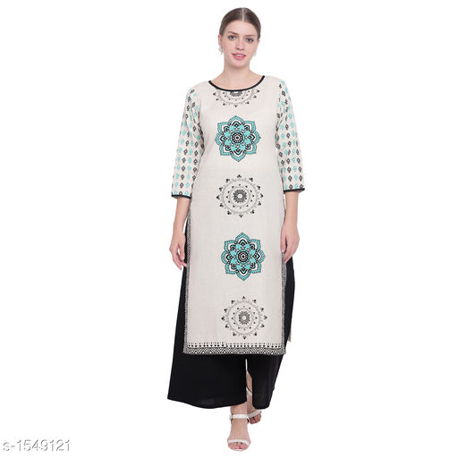 Kurta Sets Pretty Printed Women's Kurta Set  *Catalog Name* *Myhra Pretty Printed Women's Kurta Sets Vol 3*  *Fabric* Kurti - Cotton, Palazzo - Cotton  *Sleeves* Kurti - 3/4 Sleeves Are Included  *Size* Kurti  *Length* Kurti - Up to 46 in, Palazzo - Up to 36 in  *Type* Stitched  *Description* It Has 1 Piece Of Women's Kurti & 1 Piece Of Palazzo    *Work * Kurti - Printed, Palazzo - Solid  *Sizes Available* S, M, L, XL, XXL, XXXL, 4XL, 5XL   Supplier Rating: ★4.4 (25) SKU: SBKPI23021 Free shipping is available for this item. Pkt. Weight Range: 400  Catalog Name: Myhra Pretty Printed Women's Kurta Sets Vol 3 - Sandeep Tiwari Code: 969-1549121--