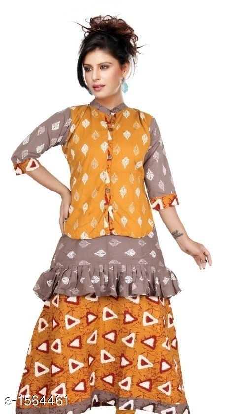 Kurtis & Kurtas Contemporary Cotton Printed Kurti  *Fabric* Cotton  *Sleeves* Sleeves Are Included  *Size* L - 40 in, XL - 44 in           *Length* Up To 48 in  *Type* Stitched  *Description* It Has 1 Piece Of Women's Kurtis  *Work* Printed  *Sizes Available* L, XL   Supplier Rating: ★4.1 (356) SKU: CCPK_3 Free shipping is available for this item. Pkt. Weight Range: 300  Catalog Name: Kashvi Contemporary Cotton Printed Kurtis Vol 3 - Dracy Code: 066-1564461--