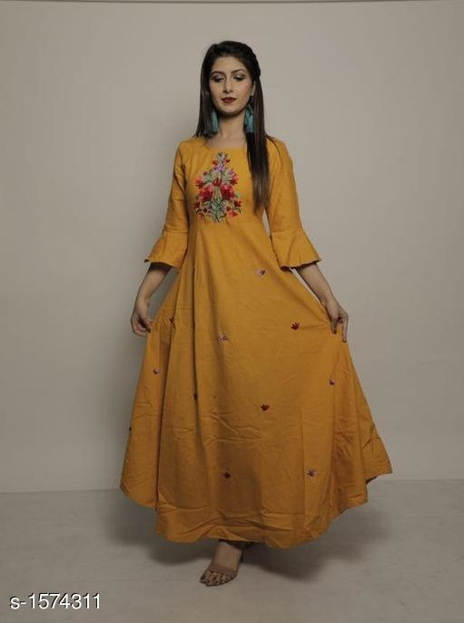 Kurtis & Kurtas Designer Party Wear Rayon Long Kurti  *Fabric* Kurti - Rayon  *Sleeves* Sleeves Are Included  *Size* Kurti (Bust) - M - 38 in , L - 40 in, XL - 42 in, XXL - 44 in  *Length * Up To 50 in  *Type* Stitched  *Description* It Has 1 Piece Of Women's Long Kurti  *Work* Embroidered  *Sizes Available* XXXL, M, L, XL, XXL   Catalog Rating: ★3.9 (166) Supplier Rating: ★4 (5560) SKU: 36 Free shipping is available for this item. Pkt. Weight Range: 350  Catalog Name: Yashvi Designer Party Wear Rayon Long Kurtis   #Re1Shipping - FPK Code: 987-1574311--