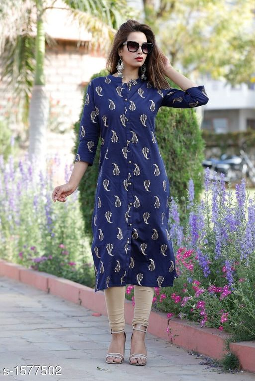 Kurtis & Kurtas Designer Party Wear Kurti  *Fabric* Kurti - Cotton Flex  *Sleeves* Sleeves Are Included  *Size* M - 38 in , L - 40 in, XL - 42 in, 2XL - 44 in, 3XL - 46 in  *Length * Up To 44 in  *Type* Stitched  *Description* It Has 1 Piece Of Women's  Kurti  *Work* Printed  *Sizes Available* M, L, XL, XXL, XXXL   Catalog Rating: ★4.1 (50) Supplier Rating: ★4.1 (308) SKU: Blue Gold Botton Kurti Free shipping is available for this item. Pkt. Weight Range: 500  Catalog Name: Yashvi Designer Party Wear Kurtis  Vol 3 - NIK Fashion Code: 915-1577502--