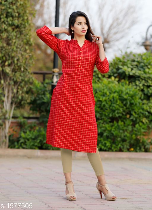 Kurtis & Kurtas Designer Party Wear Kurti  *Fabric* Kurti - Cotton Flex  *Sleeves* Sleeves Are Included  *Size* M - 38 in , L - 40 in, XL - 42 in, 2XL - 44 in, 3XL - 46 in  *Length * Up To 40 in  *Type* Stitched  *Description* It Has 1 Piece Of Women's  Kurti  *Work* Printed  *Sizes Available* M, L, XL, XXL, XXXL   Catalog Rating: ★4.1 (50) Supplier Rating: ★4.1 (308) SKU: Red Gold Checks Free shipping is available for this item. Pkt. Weight Range: 500  Catalog Name: Yashvi Designer Party Wear Kurtis  Vol 3 - NIK Fashion Code: 095-1577505--