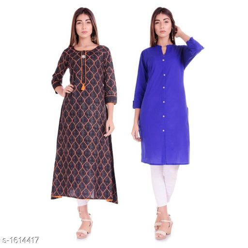 Kurtis & Kurtas Ethnic Casual Kurtis Combo  *Fabric* Cotton  *Sleeves* 3/4 Sleeves Are Included  *Size* M - 38 in, L - 40 in, XL - 42 in, XXL - 44 in  *Length* Kurti 1 - Up To 46 in, Kurti 2 - Up To 42 in  *Type* Stitched  *Description* It Has 2 Pieces Of Kurtis  *Work / Pattern* Kurti 1 - Printed, Kurti 2 - Solid  *Sizes Available* M, L, XL, XXL   Supplier Rating: ★4.1 (1382) SKU: BL-40-01 Free shipping is available for this item. Pkt. Weight Range: 600  Catalog Name: Parinaaz Ethnic Casual Kurtis Combo - BLF Lemon Code: 067-1614417--