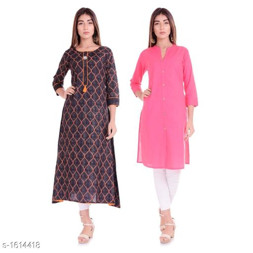Kurtis & Kurtas Ethnic Casual Kurtis Combo  *Fabric* Cotton  *Sleeves* 3/4 Sleeves Are Included  *Size* M - 38 in, L - 40 in, XL - 42 in, XXL - 44 in  *Length* Kurti 1 - Up To 46 in, Kurti 2 - Up To 42 in  *Type* Stitched  *Description* It Has 2 Pieces Of Kurtis  *Work / Pattern* Kurti 1 - Printed, Kurti 2 - Solid  *Sizes Available* M, L, XL, XXL   Supplier Rating: ★4.1 (1382) SKU: BL-40-02 Free shipping is available for this item. Pkt. Weight Range: 600  Catalog Name: Parinaaz Ethnic Casual Kurtis Combo - BLF Lemon Code: 067-1614418--