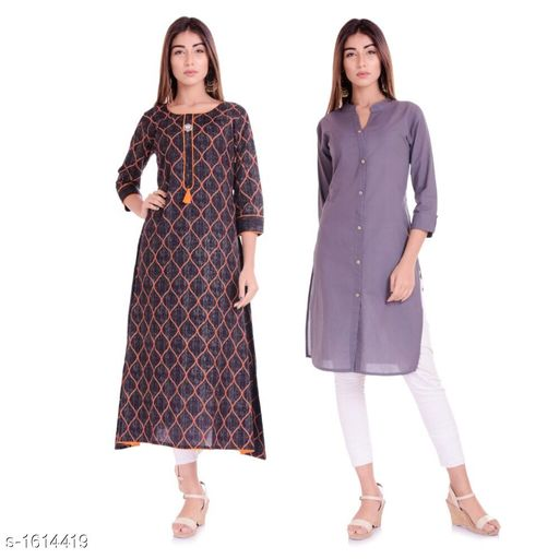 Kurtis & Kurtas Ethnic Casual Kurtis Combo  *Fabric* Cotton  *Sleeves* 3/4 Sleeves Are Included  *Size* M - 38 in, L - 40 in, XL - 42 in, XXL - 44 in  *Length* Kurti 1 - Up To 46 in, Kurti 2 - Up To 42 in  *Type* Stitched  *Description* It Has 2 Pieces Of Kurtis  *Work / Pattern* Kurti 1 - Printed, Kurti 2 - Solid  *Sizes Available* M, L, XL, XXL   Supplier Rating: ★4.1 (1382) SKU: BL-40-03 Free shipping is available for this item. Pkt. Weight Range: 600  Catalog Name: Parinaaz Ethnic Casual Kurtis Combo - BLF Lemon Code: 067-1614419--