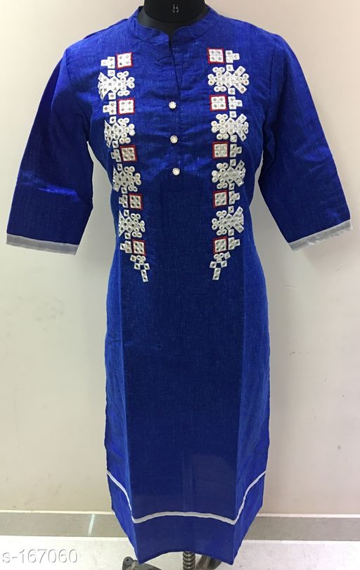 Kurtis & Kurtas Stylish Mirror work Kurti  *Fabric* Double Dye Cotton Slub   *Sleeves* Sleeves Are Included   *Size* L - 40 in, XL - 42 in, XXL - 44 in   *Type* Stitched   *Description* It Has 1 Piece Of Kurti   *Work* Mirror work  *Sizes Available* L   Catalog Rating: ★4.2 (50) Supplier Rating: ★4.2 (388) SKU: gtr251b Free shipping is available for this item. Pkt. Weight Range: 300  Catalog Name: Golden Thread Vol 16 - Golden Thread Code: 984-167060--
