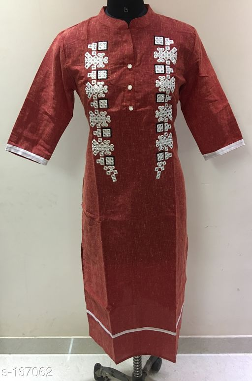 Kurtis & Kurtas Stylish Mirror work Kurti  *Fabric* Double Dye Cotton Slub   *Sleeves* Sleeves Are Included   *Size* L - 40 in, XL - 42 in, XXL - 44 in   *Type* Stitched   *Description* It Has 1 Piece Of Kurti   *Work* Mirror work  *Sizes Available* L, XL, XXL, XXXL   Catalog Rating: ★4.2 (50) Supplier Rating: ★4.2 (388) SKU: gtr251r Free shipping is available for this item. Pkt. Weight Range: 300  Catalog Name: Golden Thread Vol 16 - Golden Thread Code: 984-167062--