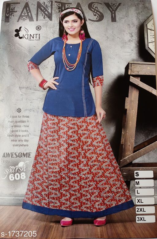 Top & Bottom Sets Attractive Rayon Cotton Mix Printed Women's Tunic  *Fabric* Kurti - Rayon Cotton, Skirt - Rayon Cotton  *Sleeves* Sleeves Are Included  *Size* Kurti - 3XL - 46 in, Skirt - 3XL - 38 in  *Length* Kurti - Up To 28 in, Skirt - Up To 40 in  *Type* Stitched  *Description* It Has 1 Piece Of Women's Kurti with Skirt  *Work* Printed , Fabric  *Sleeves* Sleeves Are Included  *Size* Kurti - 3XL - 46 in, Skirt - 3XL - 38 in  *Length* Kurti - Up To 28 in, Skirt - Up To 40 in  *Type* Stitched  *Description* It Has 1 Piece Of Women's Kurti with Skirt  *Work* Printed  *Sizes Available* XXXL   Supplier Rating: ★4 (75) SKU: ARCMP_1 Free shipping is available for this item. Pkt. Weight Range: 500  Catalog Name: Yashvi Attractive Rayon Cotton Mix Printed Women's Tunics Vol 7 - CFG Code: 0111-1737205--