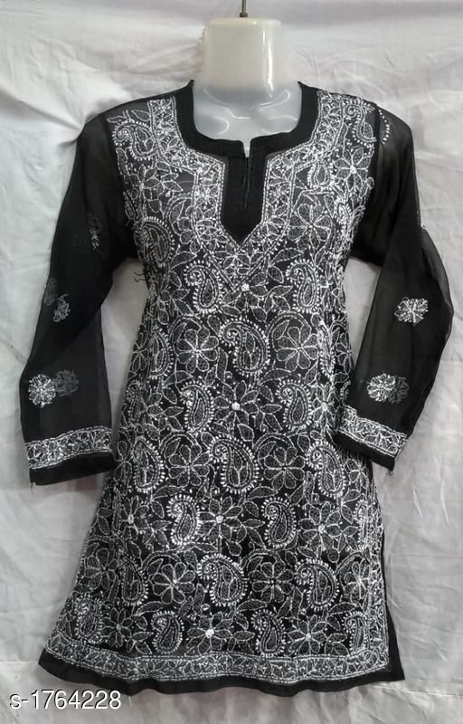 Kurtis & Kurtas Stylish Chiffon & Georgette Kurti  *Fabric* Chiffon & Georgette  *Sleeves* Sleeves Are Included  *Size* L - 40 in, XL - 42 in, XXL - 44 in  *Length* Up to 30 in  *Type* Stitched  *Description* It Has 1 Piece Of Kurti  *Work* Chickankari Work  *Sizes Available* L, XL, XXL   Supplier Rating: ★4 (197) SKU: SCGK_2 Free shipping is available for this item. Pkt. Weight Range: 300  Catalog Name: Ariya Stylish Chiffon & Georgette Kurtis Vol 4 - Pooja Handicrafts- Code: 027-1764228--
