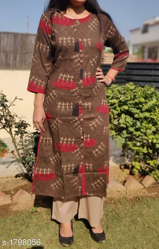 Kurtis & Kurtas Stunning Cotton Women's Kurti  *Fabric* Kurti -Cotton, Pant - Cotton  *Sleeves* 3/4 Sleeves Are Included  *Size* Kurti - M - 38 in, L - 40 in, XL - 42 in, XXL - 44 in, Pant - M - 30 in, L - 32 in, XL - 34 in, XXL - 36 in  *Length* Kurti - Up To 44 in, Pant - Up to 40 in  *Type* Stitched  *Description* It Has 1 Piece Of Kurti & 1 Piece Of Pant  *Work/Pattern* Kurti - Printed, Pant - Solid  *Sizes Available* M, L, XL, XXL   Supplier Rating: ★4.2 (353) SKU: vo366 Free shipping is available for this item. Pkt. Weight Range: 300  Catalog Name: Aradhya Stunning Cotton Women's Kurtis Vol 7 - EE Kurtis Code: 0201-1798056--