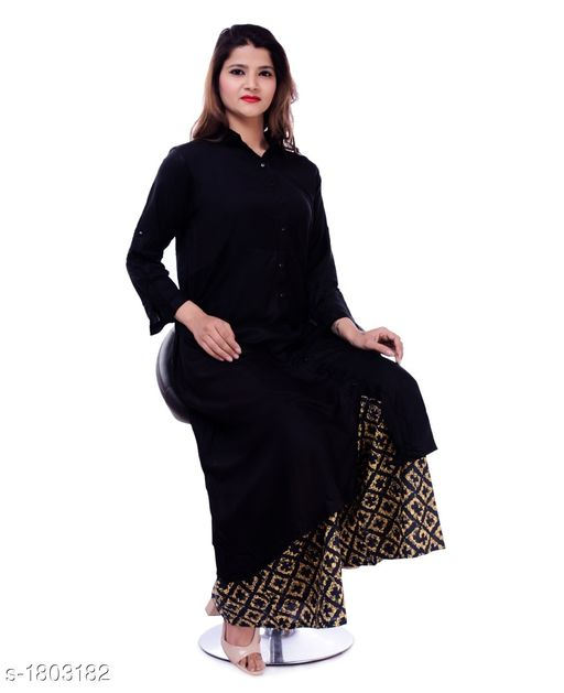 Kurtis & Kurtas Gorgeous Stylish Kurti With Palazzo  *Fabric* Kurti - Rayon , Palazzo - Cotton  *Sleeves* Kurti - Roll-up sleeves  *Size* Kurti -  XL - 42 in, XXL - 44 in, Palazzo -  28 in to 38 in  *Length* Kurti - Up to 50 in , Palazzo - Up to 40 in    *Type* Stitched  *Description* It Has 1 Piece Of Kurti With 1 Piece Of Palazzo  *Work* Kurti - Solid , Palazzo - Printed  *Sizes Available* 42, 44   Catalog Rating: ★3.5 (12) Supplier Rating: ★4 (582) SKU: GSKS_4 Free shipping is available for this item. Pkt. Weight Range: 500  Catalog Name: Additri Gorgeous Stylish Kurta with Palazzo Vol 20 - Vivacious Collection Code: 028-1803182--