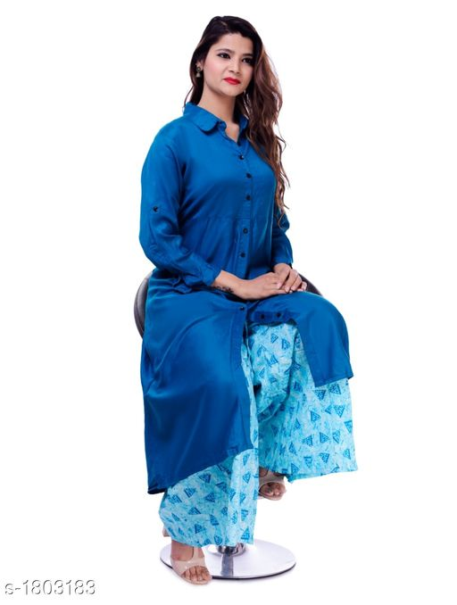Kurtis & Kurtas Gorgeous Stylish Kurti With Palazzo  *Fabric* Kurti - Rayon , Palazzo - Cotton  *Sleeves* Kurti - Roll-up sleeves  *Size* Kurti -  XL - 42 in, XXL - 44 in, Palazzo -  28 in to 38 in  *Length* Kurti - Up to 50 in , Palazzo - Up to 40 in    *Type* Stitched  *Description* It Has 1 Piece Of Kurti With 1 Piece Of Palazzo  *Work* Kurti - Solid , Palazzo - Printed  *Sizes Available* 42, 44   Catalog Rating: ★3.5 (12) Supplier Rating: ★4 (582) SKU: GSKS_5 Free shipping is available for this item. Pkt. Weight Range: 500  Catalog Name: Additri Gorgeous Stylish Kurta with Palazzo Vol 20 - Vivacious Collection Code: 028-1803183--
