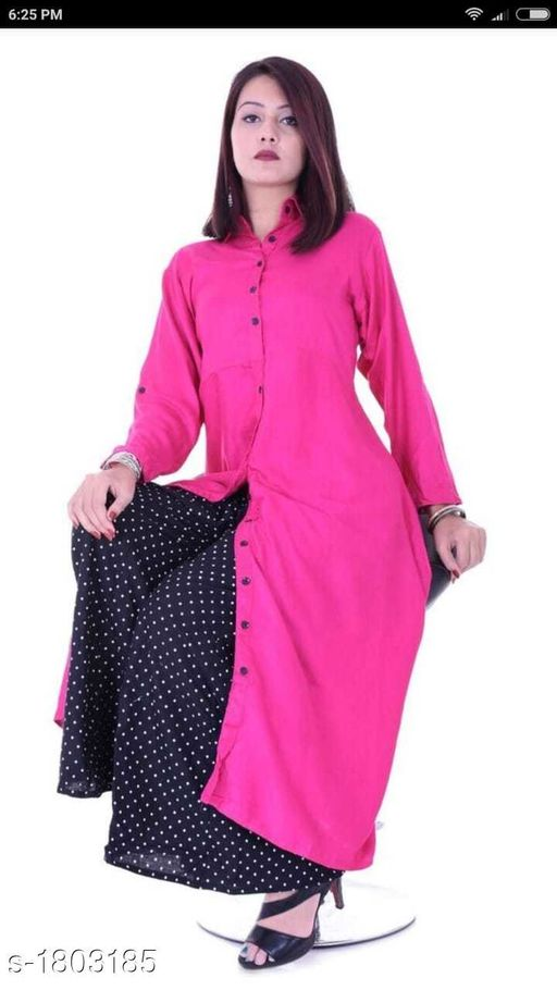 Kurtis & Kurtas Gorgeous Stylish Kurti With Palazzo  *Fabric* Kurti - Rayon , Palazzo - Cotton  *Sleeves* Kurti - Roll-up sleeves  *Size* Kurti -  XL - 42 in, XXL - 44 in, Palazzo -  28 in to 38 in  *Length* Kurti - Up to 50 in , Palazzo - Up to 40 in    *Type* Stitched  *Description* It Has 1 Piece Of Kurti With 1 Piece Of Palazzo  *Work* Kurti - Solid , Palazzo - Printed  *Sizes Available* 42, 44   Catalog Rating: ★3.5 (12) Supplier Rating: ★4 (582) SKU: GSKS_6 Free shipping is available for this item. Pkt. Weight Range: 500  Catalog Name: Additri Gorgeous Stylish Kurta with Palazzo Vol 20 - Vivacious Collection Code: 028-1803185--