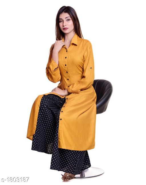 Kurtis & Kurtas Gorgeous Stylish Kurti With Palazzo  *Fabric* Kurti - Rayon , Palazzo - Cotton  *Sleeves* Kurti - Roll-up sleeves  *Size* Kurti -  XL - 42 in, XXL - 44 in, Palazzo -  28 in to 38 in  *Length* Kurti - Up to 50 in , Palazzo - Up to 40 in    *Type* Stitched  *Description* It Has 1 Piece Of Kurti With 1 Piece Of Palazzo  *Work* Kurti - Solid , Palazzo - Printed  *Sizes Available* 42, 44   Catalog Rating: ★3.5 (12) Supplier Rating: ★4 (582) SKU: GSKS_8 Free shipping is available for this item. Pkt. Weight Range: 500  Catalog Name: Additri Gorgeous Stylish Kurta with Palazzo Vol 20 - Vivacious Collection Code: 028-1803187--
