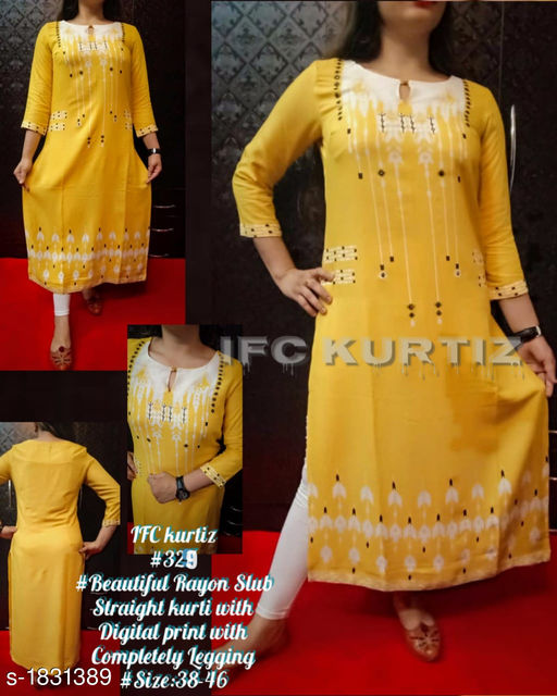Kurta Sets Stylish Designer Kurtis Set  *Fabric* Kurti - Rayon Slub, Leggings - Cotton Lycra  *Sleeves* 3/4 Sleeves Are Included  *Size* Kurti - S - 38 in, M- 40 in, L - 42 in, XL - 44 in, XXL - 46 in, Leggings - Kurti - S - 28 in, M- 30 in, L - 32 in, XL - 34 in, XXL - 36 in  *Length* Kurti - Up To 48 in, Legging - Up to 40 in  *Type* Stitched  *Description* It Has 1 Piece Of Kurti & 1 Piece Of Leggings  *Work* Digital Printed  *Sizes Available* L   Supplier Rating: ★3.8 (191) SKU: 329 Free shipping is available for this item. Pkt. Weight Range: 300  Catalog Name: IFC Stylish Designer Kurtis Set Vol 6 - IFC Kurtiz Code: 029-1831389--