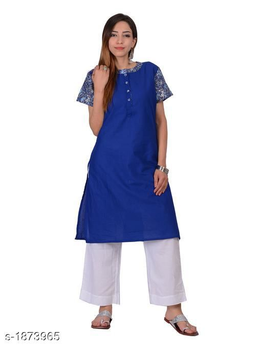 Kurtis & Kurtas Attractive Cotton Plain Kurti  *Fabric* Cotton  *Sleeves* Short Sleeves Are Included  *Size* S - 36 in,  M - 38 in, L - 40 in, XL - 42 in  *Length* Up To 40 in  *Type* Stitched  *Description* It Has 1 Piece Of Kurti  *Work* Printed  *Sizes Available* S, M, L, XL   Supplier Rating: ★4.3 (20) SKU: 1172 Free shipping is available for this item. Pkt. Weight Range: 300  Catalog Name: Izmira Attractive Cotton Plain Kurtis vol 1 - Aksi Code: 966-1873965--