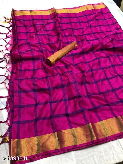 Sarees Trendy Soft Cotton Silk Saree  *Fabric* Saree - Cotton Silk , Blouse - Cotton Silk   *Size* Saree Length With Running Blouse - 6.3 Mtr   *Pattern * Checked  *Sizes Available* Free Size   Supplier Rating: ★3.6 (33) SKU: 3_512 Free shipping is available for this item. Pkt. Weight Range: 500  Catalog Name: Fancy Trendy Soft Cotton Silk Sarees Vol 1 - REALATIVITY CREATION Code: 077-1893241--