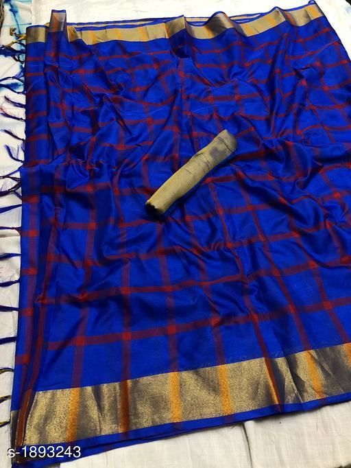 Sarees Trendy Soft Cotton Silk Saree  *Fabric* Saree - Cotton Silk , Blouse - Cotton Silk   *Size* Saree Length With Running Blouse - 6.3 Mtr   *Pattern * Checked  *Sizes Available* Free Size   Supplier Rating: ★3.6 (33) SKU: 1_512 Free shipping is available for this item. Pkt. Weight Range: 500  Catalog Name: Fancy Trendy Soft Cotton Silk Sarees Vol 1 - REALATIVITY CREATION Code: 077-1893243--