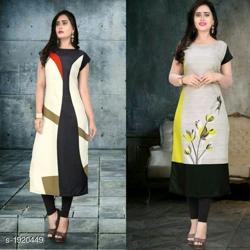 Kurtis & Kurtas Stylish American Crepe Kurtis Combo  *Fabric* Kurti 1 - American Crepe, Kurti 2 - American Crepe  *Sleeves* Cap Sleeves Are Included  *Size* M - 38 in, L - 40 in, XL - 42 in, XXL - 44 in  *Length* Kurti 1 - Up To 46 in, Kurti 2 - Up To 46 in  *Type* Stitched  *Description* It Has 2 Pieces Of Kurtis  *Work* Kurti 1 - Digital Printed, Kurti 2 - Digital Printed  *Sizes Available* M, L, XL, XXL   Supplier Rating: ★4.1 (116) SKU: SACKC_8 Free shipping is available for this item. Pkt. Weight Range: 600  Catalog Name: Alisha Stylish American Crepe Kurtis Combo Vol 1 - DHRM FASHION Code: 917-1920449--
