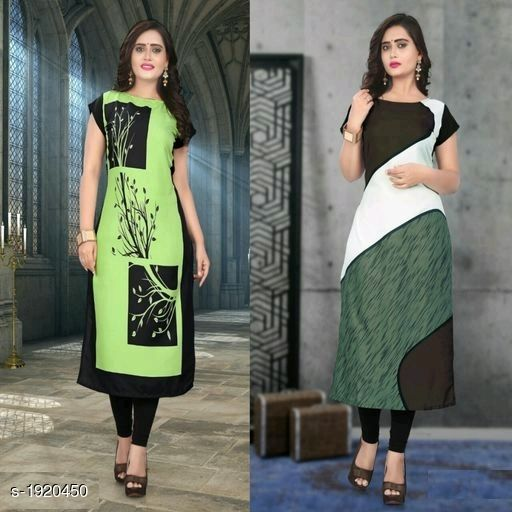 Kurtis & Kurtas Stylish American Crepe Kurtis Combo  *Fabric* Kurti 1 - American Crepe, Kurti 2 - American Crepe  *Sleeves* Cap Sleeves Are Included  *Size* M - 38 in, L - 40 in, XL - 42 in, XXL - 44 in  *Length* Kurti 1 - Up To 46 in, Kurti 2 - Up To 46 in  *Type* Stitched  *Description* It Has 2 Pieces Of Kurtis  *Work* Kurti 1 - Digital Printed, Kurti 2 - Digital Printed  *Sizes Available* M, L, XL, XXL   Supplier Rating: ★4.1 (116) SKU: SACKC_7 Free shipping is available for this item. Pkt. Weight Range: 600  Catalog Name: Alisha Stylish American Crepe Kurtis Combo Vol 1 - DHRM FASHION Code: 917-1920450--