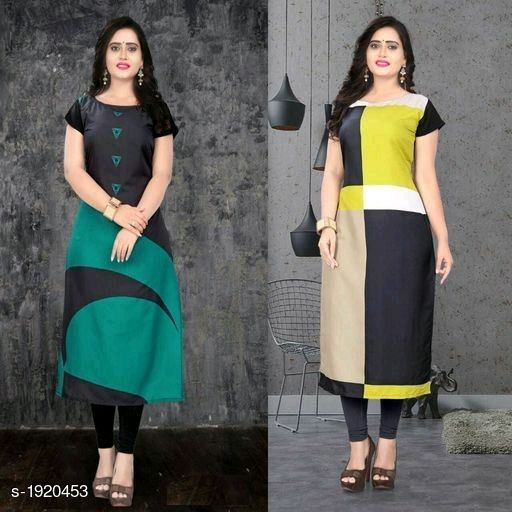 Kurtis & Kurtas Stylish American Crepe Kurtis Combo  *Fabric* Kurti 1 - American Crepe, Kurti 2 - American Crepe  *Sleeves* Cap Sleeves Are Included  *Size* M - 38 in, L - 40 in, XL - 42 in, XXL - 44 in  *Length* Kurti 1 - Up To 46 in, Kurti 2 - Up To 46 in  *Type* Stitched  *Description* It Has 2 Pieces Of Kurtis  *Work* Kurti 1 - Digital Printed, Kurti 2 - Digital Printed  *Sizes Available* M, L, XL, XXL   Supplier Rating: ★4.1 (116) SKU: SACKC_6 Free shipping is available for this item. Pkt. Weight Range: 600  Catalog Name: Alisha Stylish American Crepe Kurtis Combo Vol 1 - DHRM FASHION Code: 917-1920453--