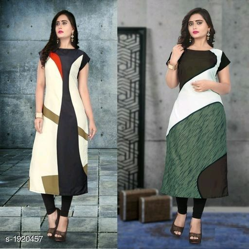 Kurtis & Kurtas Stylish American Crepe Kurtis Combo  *Fabric* Kurti 1 - American Crepe, Kurti 2 - American Crepe  *Sleeves* Cap Sleeves Are Included  *Size* M - 38 in, L - 40 in, XL - 42 in, XXL - 44 in  *Length* Kurti 1 - Up To 46 in, Kurti 2 - Up To 46 in  *Type* Stitched  *Description* It Has 2 Pieces Of Kurtis  *Work* Kurti 1 - Digital Printed, Kurti 2 - Digital Printed  *Sizes Available* M, L, XL, XXL   Supplier Rating: ★4.1 (116) SKU: SACKC_4 Free shipping is available for this item. Pkt. Weight Range: 600  Catalog Name: Alisha Stylish American Crepe Kurtis Combo Vol 1 - DHRM FASHION Code: 917-1920457--