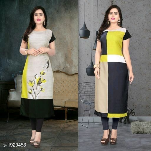 Kurtis & Kurtas Stylish American Crepe Kurtis Combo  *Fabric* Kurti 1 - American Crepe, Kurti 2 - American Crepe  *Sleeves* Cap Sleeves Are Included  *Size* M - 38 in, L - 40 in, XL - 42 in, XXL - 44 in  *Length* Kurti 1 - Up To 46 in, Kurti 2 - Up To 46 in  *Type* Stitched  *Description* It Has 2 Pieces Of Kurtis  *Work* Kurti 1 - Digital Printed, Kurti 2 - Digital Printed  *Sizes Available* M, L, XL, XXL   Supplier Rating: ★4.1 (116) SKU: SACKC_3 Free shipping is available for this item. Pkt. Weight Range: 600  Catalog Name: Alisha Stylish American Crepe Kurtis Combo Vol 1 - DHRM FASHION Code: 917-1920458--