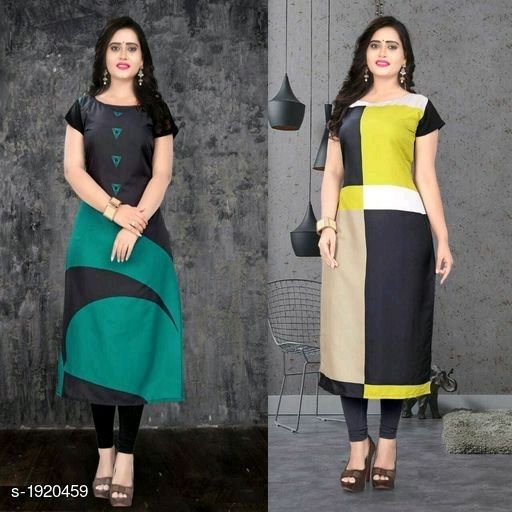 Kurtis & Kurtas Stylish American Crepe Kurtis Combo  *Fabric* Kurti 1 - American Crepe, Kurti 2 - American Crepe  *Sleeves* Cap Sleeves Are Included  *Size* M - 38 in, L - 40 in, XL - 42 in, XXL - 44 in  *Length* Kurti 1 - Up To 46 in, Kurti 2 - Up To 46 in  *Type* Stitched  *Description* It Has 2 Pieces Of Kurtis  *Work* Kurti 1 - Digital Printed, Kurti 2 - Digital Printed  *Sizes Available* M, L, XL, XXL   Supplier Rating: ★4.1 (116) SKU: SACKC_2 Free shipping is available for this item. Pkt. Weight Range: 600  Catalog Name: Alisha Stylish American Crepe Kurtis Combo Vol 1 - DHRM FASHION Code: 917-1920459--