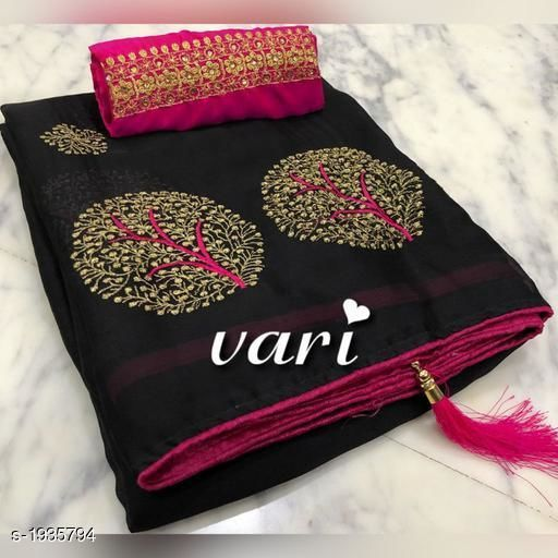 Sarees  Attractive Moss Chiffon Embroidery Saree  *Fabric* Saree - Moss Chiffon,  Blouse - Bangalori Silk  *Size* Saree Length - 5.5 Mtr, Blouse Length - 0.8 Mtr  *Work* Embroidery Work  *Sizes Available* Free Size   Supplier Rating: ★4 (48098) SKU: MOS_CHIFFON_VARI_BLACK Free shipping is available for this item. Pkt. Weight Range: 500  Catalog Name: Siya Attractive Moss Chiffon Embroidery Sarees Vol 2 - P Variety Code: 966-1935794--