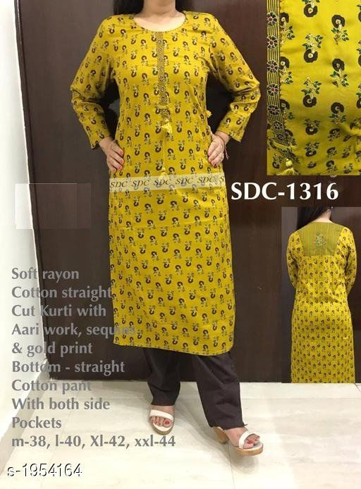 Kurtis & Kurtas Stylish Women's Kurti  *Fabric* Kurti - Soft Rayon Cotton, Bottom - Cotton  *Sleeves* Full Sleeves Are Included  *Size* Kurti - M - 38 in, L - 40 in, XL - 42 in, XXL - 44 in, Palazzo - M - 28 in, L - 30 in, XL - 32 in, XXL - 34 in  *Length* Kurti - Up To 46 in, Bottom - Up To 36 in  *Type* Stitched  *Description* It Has 1 Piece Of Kurti & 1 Piece Of Bottom  *Work / Pattern* Kurti - Printed & Tassel, Bottom - Solid  *Sizes Available* 42   Supplier Rating: ★4.3 (4325) SKU: SDC-1316 Free shipping is available for this item. Pkt. Weight Range: 500  Catalog Name: Aaryahi Stylish Women's Kurtis Vol 5 - SDC Code: 5651-1954164--