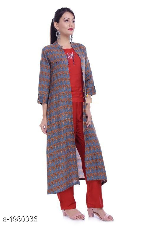 Kurta Sets Trendy Rayon Women's Kurti  *Fabric* Kurti - Rayon , Top - Rayon, Pant - Rayon 