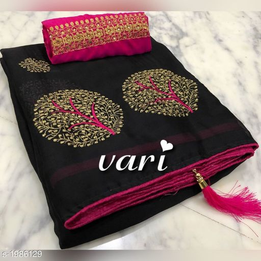 Sarees Attractive Moss Chiffon Women's Saree  *Fabric * Saree - Moss Chiffon, Blouse - Banglori Silk  *Size * Saree Length - 5.5 Mtr, Blouse Length - 0.8 Mtr  *Work * Embroidery Work  *Sizes Available* Free Size   Supplier Rating: ★4 (48367) SKU: MOS_CHIFFON_VARI_BLACK Free shipping is available for this item. Pkt. Weight Range: 500  Catalog Name: Siya Attractive Moss Chiffon Women's Sarees Vol 1 - P Variety Code: 965-1986129--