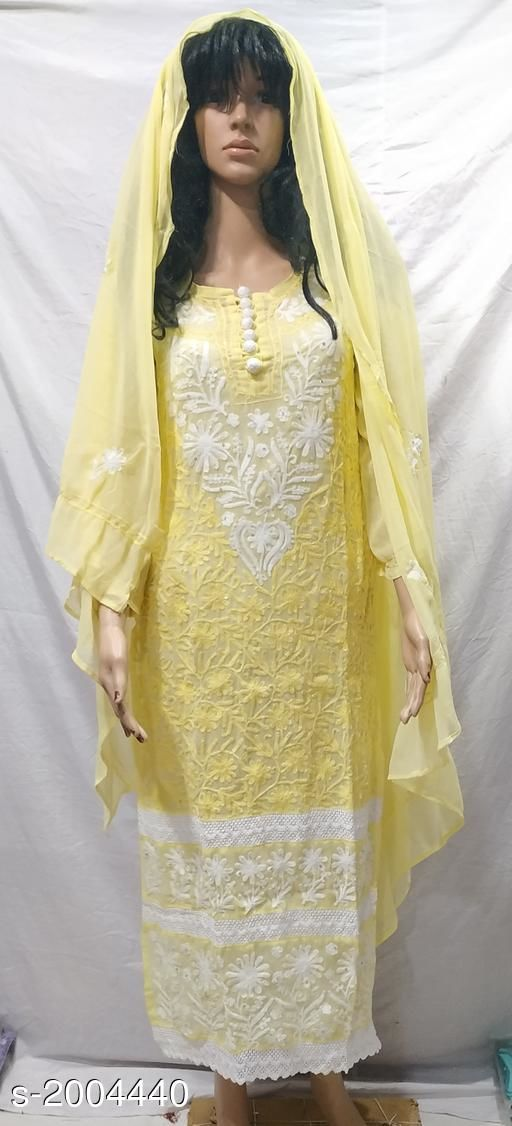 Kurtis & Kurtas Attractive Georgette Kurti  *Fabric* Kurti - Georgette,Dupatta - Georgette  *Sleeves* Kurti - Sleeves Are Included  *Sizes* Kurti  *Length* Kurti - Up To 48 in             *Type* Stitched  *Description* It Has 1 Piece Of Kurti & 1 Piece Of Dupatta  *Work* Kurti - Embroidery, Dupatta - Solid  *Sizes Available* S, M, L   Supplier Rating: ★4 (339) SKU: 013422 Free shipping is available for this item. Pkt. Weight Range: 500  Catalog Name: Alisha Attractive Georgette Kurtis Vol 7 - Pooja Handicrafts- Code: 9621-2004440--